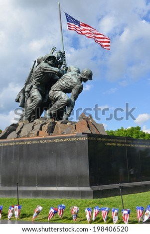 WASHINGTON, DC - MAY 25, 2014: Iwo Jima Memorial in Washington, DC. The Memorial honors the Marines who have died defending the US since 1775 and a prominent tourist attraction in Washington DC. - stock photo
