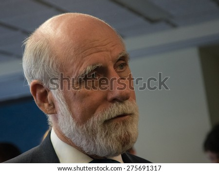 Washington, DC - May 4, 2015: Vint Cerf, Vice President and Chief Internet Evangelist at Google and one of the fathers of the Internet, speaks at the National Press Club