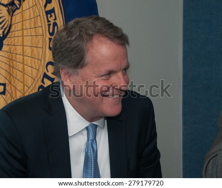Washington, DC - May 15, 2015: W, Douglas Parker, chairman and chief executive of American Airlines Group, speaks at the National Press Club - stock photo