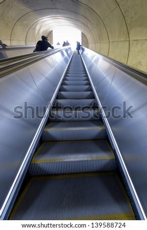 Washington DC Metro escalator - stock photo