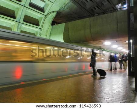 Washington DC, metro station interior - stock photo