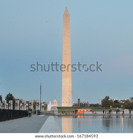 Washington DC, National Mall evening scene including World War II Memorial, the Monument and Capitol Building