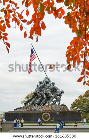 WASHINGTON, DC - NOV 05: Iwo Jima Memorial in Washington, DC on November 05, 2013. The Memorial honors the Marines who have died defending the US since 1775.and a prominent tourist attraction point - stock photo