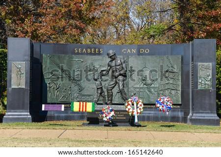 WASHINGTON, DC - NOV 12: National Seabee Memorial, Arlington National Cemetery in Arlington, Virginia on November 12, 2013. The Memorial was sculpted by a former SEABEE, Felix de Weldon - stock photo