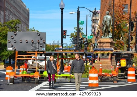 WASHINGTON, DC-NOVEMBER 08:Downtown Washington DC Historic Architecture on November 8, 2014 in Washington DC,USA.Washington DC has many historic buildings, and monuments, and many people come to visit - stock photo