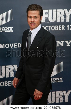 "WASHINGTON, DC-OCT 15: Actor Brad Pitt attends the world premiere of ""Fury"" at the Newseum on October 15, 2014 in Washington DC. - stock photo"