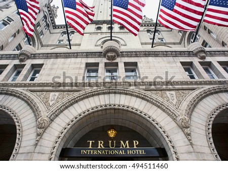 Washington, DC. Oct. 6, 2016 : Donald Trump International Hotel built in the old Pennsylvania,Ave Post Office.