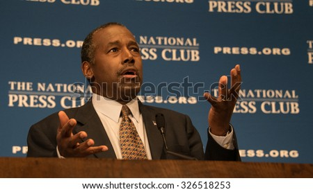 WASHINGTON, DC - OCTOBER 9, 2015:  Ben Carson, retired neurosurgeon, author, and Republican presidential contender, speaks to a National Press Club luncheon