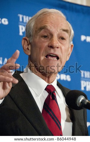 WASHINGTON, DC - OCTOBER 5:  Congressman Ron Paul (R-Texas), candidate for the Republican Presidential nomination, speaks to a luncheon at the National Press Club, October 5, 2011 in Washington, DC - stock photo
