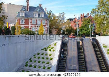 WASHINGTON,DC - OCTOBER 24: Dupont Circle Metro Station on October 24, 2015 in Washington, DC USA. One of the most busy metro stations in Washington, DC.