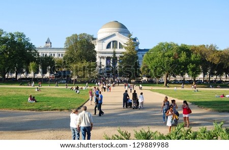 WASHINGTON,DC-OCTOBER 21: National Museum of National History on October 21, 2012 in Washington DC,USA.It is a natural history museum administered by the Smithsonian Institution at the National Mall. - stock photo