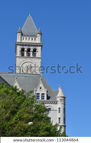 Washington DC, Old Post Office building tower in clear sky - stock photo