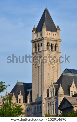 Washington DC - Old Post Office clock tower - stock photo