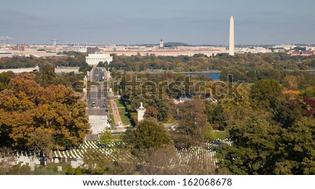 Washington DC panorama - Aerial view of Arlington Hill - stock photo