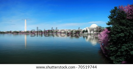 Washington DC panorama with Washington monument and Thomas Jefferson memorial with cherry blossom. - stock photo