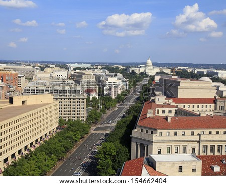 Washington DC, Pennsylvania Avenue, aerial view with federal buildings including US Archives building, Department of Justice and US Capitol - stock photo