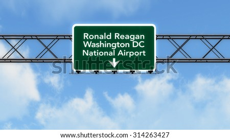 Washington DC Reagan USA Airport Highway Sign 3D Illustration