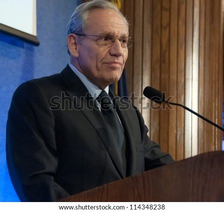 WASHINGTON, DC - SEPT. 21: Washington Post investigative reporter Bob Woodward speaks at a dinner at the National Press Club, September 21, 2012 in Washington, DC - stock photo