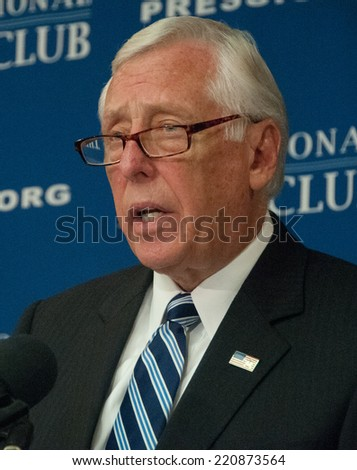 WASHINGTON, DC - SEPTEMBER 29, 2014 - Congressman Steny Hoyer, Democratic Whip in the U.S. House of Representatives, speaks at a press conference at the National Press Club - stock photo