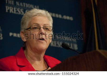 WASHINGTON, DC - SEPTEMBER 20:  Environmental Protection Agency Administrator Gina McCarthy speaks to the National Press Club on climate change and power plants, September 20, 2013 in Washington, DC - stock photo