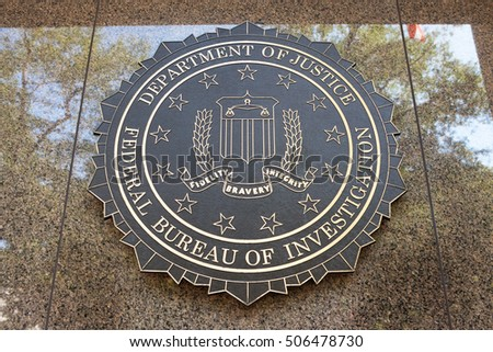 WASHINGTON, DC - SEPTEMBER 10: Federal Bureau of Investigation seal outside the J. Edgar Hoover F.B.I. Building in Washington, DC September 10, 2016.