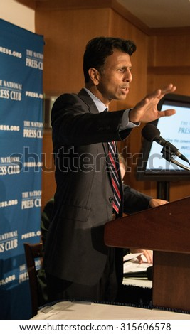 Washington, DC - September 10, 2015: Governor Bobby Jindal of Louisiana, candidate for the Republican presidential nomination, speaks at a press conference at the National Press Club - stock photo