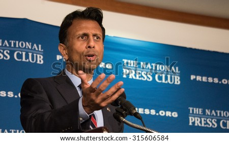 Washington, DC - September 10, 2015: Governor Bobby Jindal of Louisiana, candidate for the Republican presidential nomination, speaks at a press conference at the National Press Club