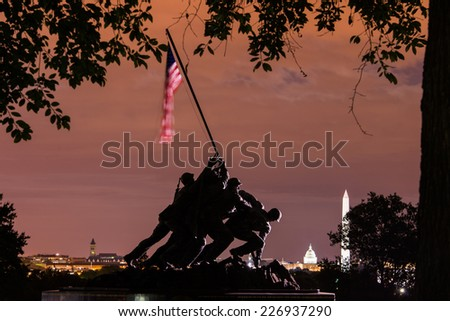 WASHINGTON, DC - SEPTEMBER 12, 2014: Iwo Jima Memorial in Washington DC. The Memorial honors the Marines who have died defending the US since 1775 and a prominent tourist attraction in Washington DC.  - stock photo