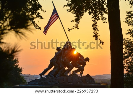 WASHINGTON, DC - SEPTEMBER 07, 2014: Iwo Jima Memorial in Washington DC. The Memorial honors the Marines who have died defending the US since 1775 and a prominent tourist attraction in Washington DC.