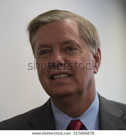 Washington, DC - September 8, 2015: Senator Lindsey Graham, candidate for the Republican presidential nomination, speaks at a National Press Club luncheon. - stock photo