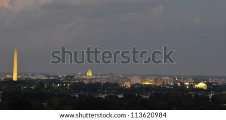 Washington DC skyline at night, including Washington Monument, United States Capitol and Thomas Jefferson Memorial - stock photo