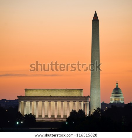 Washington DC skyline at sunrise including Lincoln Memorial, Washington Monument and United States Capitol building - stock photo