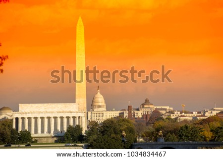 Washington DC skyline view with Lincoln Memorial, Washington Monument and US Capitol Building