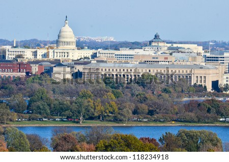 Washington DC skyline with United States Capitol Building and other federal buildings in autumn - stock photo