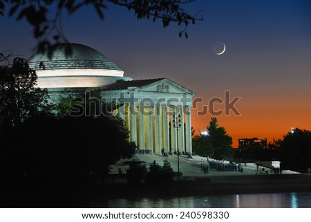 Washington DC - Thomas Jefferson Memorial at crescent moon night -  United States of America  - stock photo