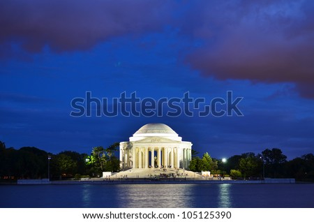 Washington DC - Thomas Jefferson Memorial at night - stock photo