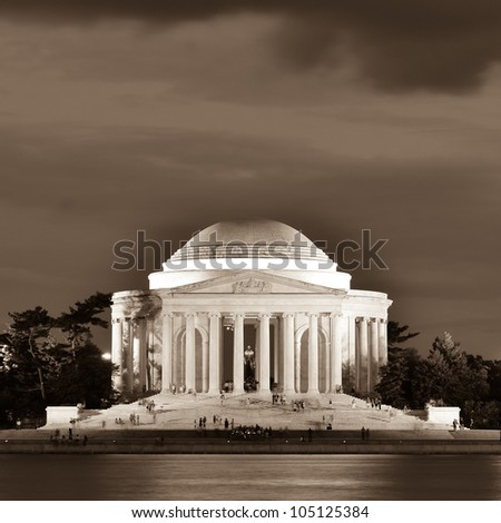 Washington DC - Thomas Jefferson Memorial at night - Sepia - stock photo