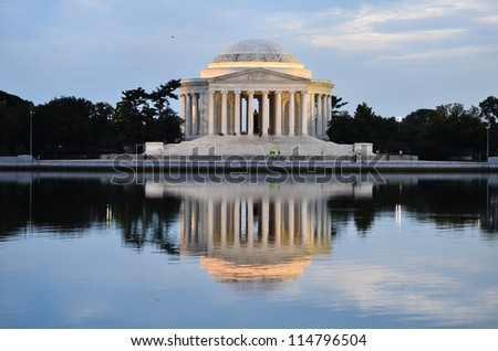 Washington DC, Thomas Jefferson Memorial  at sunset with mirror reflection on water, - stock photo