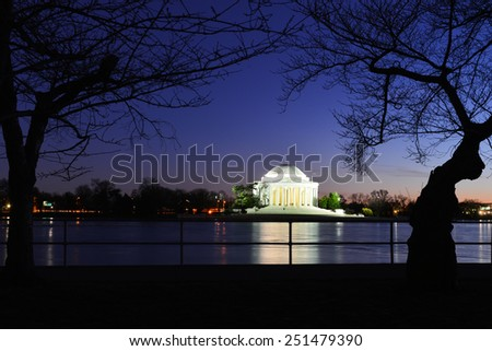 Washington DC - Thomas Jefferson Memorial night - United States of America  - stock photo