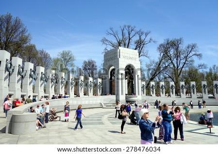 WASHINGTON DC, U.S.A. - APRIL 12, 2015: A scene at the World War II Memorial in Washington DC. - stock photo