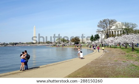 WASHINGTON DC, U.S.A. - APRIL 13, 2015: A view of the Tidal basin and the Washington Memorial. - stock photo