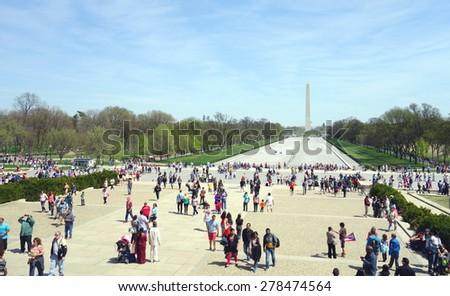 WASHINGTON DC, U.S.A. - APRIL 12, 2015: The Mall and the Washington Memorial in Washington DC. - stock photo