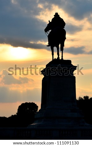 Washington DC - Ulysses S. Grant Memorial silhouette  in front of the US Capitol Building - stock photo