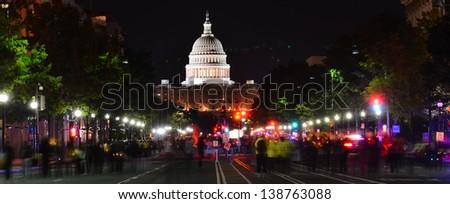 Washington DC, United States Capitol building at night - stock photo
