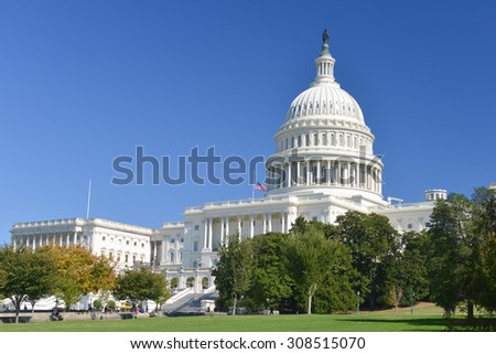 Washington DC - United States Capitol Building in Autumn - stock photo