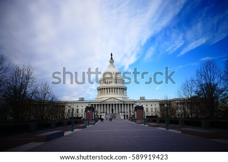 Washington DC, United States. February 2nd 2017 - Capitol Hill Building in Washington DC