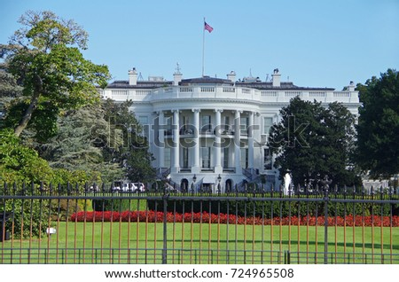 Washington DC, United States - September 27, 2017: The White House in Washington DC, United States.