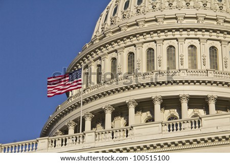 Washington DC, United States ,US Capitol Building Dome detail with American Flag, - stock photo