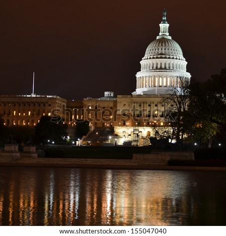 Washington DC, US Capitol at night - stock photo