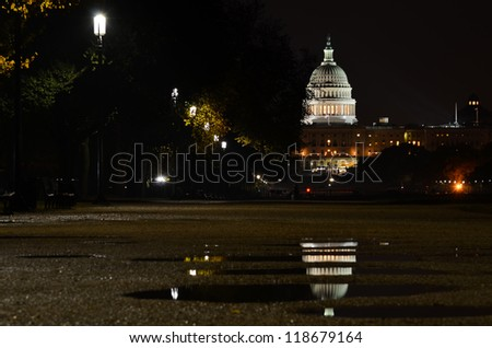 Washington DC, US Capitol Building after rain at night